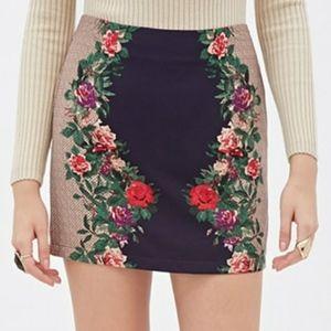 Netted Floral Mini Skirt